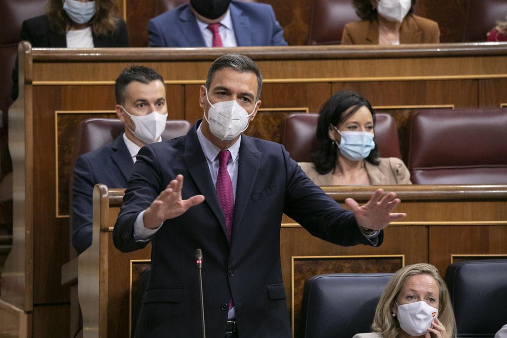 Pedro Sánchez durante la sesión de control al Gobierno
