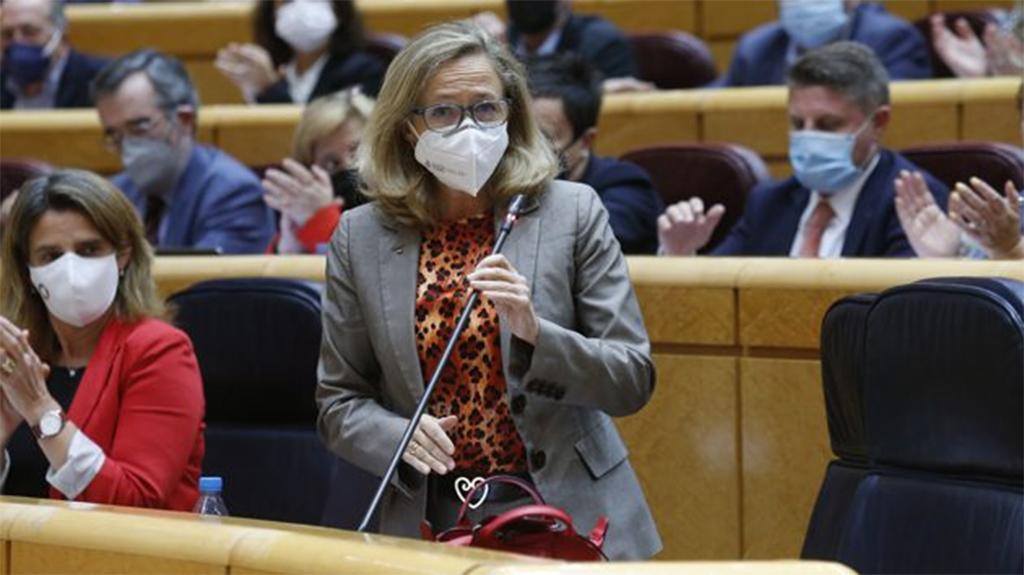 Nadia Calviño durante su intervención en la sesión de control al Gobierno en el Senado